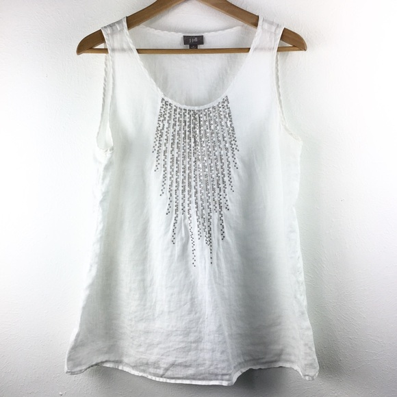 0c89c40b703cd J. Jill Tops - J. Jill White Linen Tank Silver Detail Medium